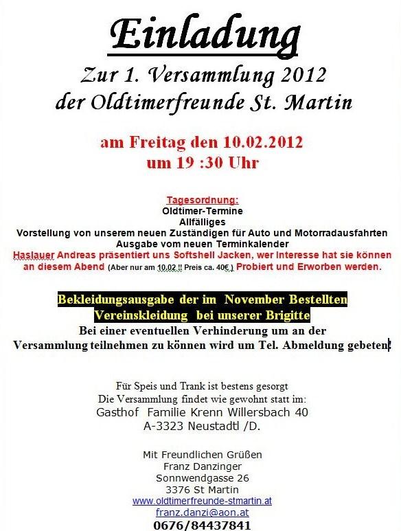 einladung erste-versammlung 2012 der of-st. martin, Einladung