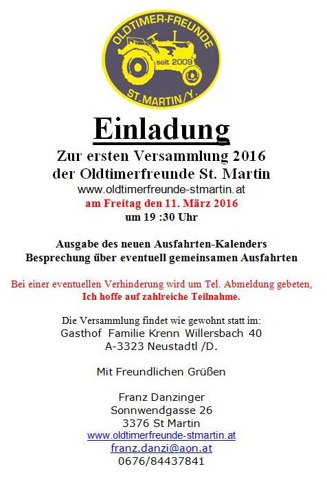 of-st.martin einladung zur ersten versammlung 2016, Einladung